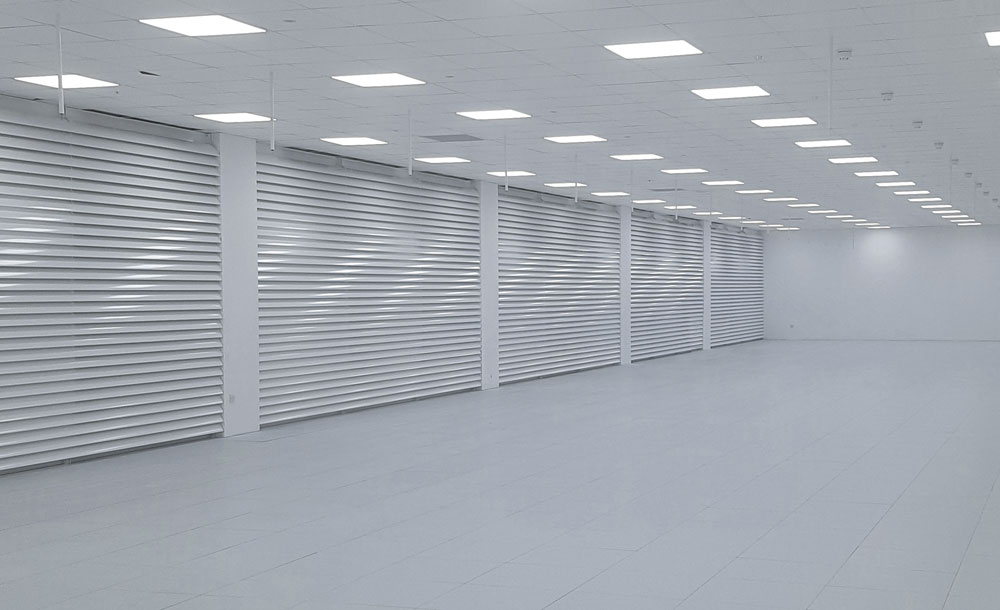 Continuous louvre walls installed in data hall